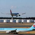 着陸直前の Northwest & 待機中の大韓航空